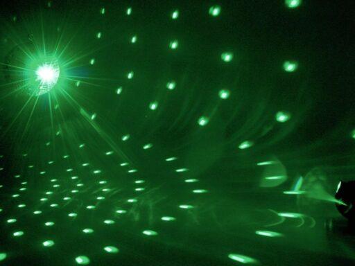 Set zrcadlová koule 20 cm s LED RGB