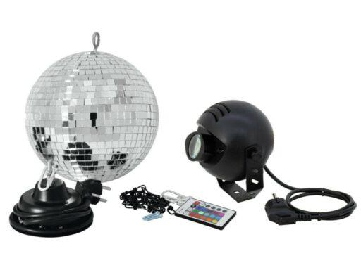 Set zrcadlová koule 20 cm s LED RGB spot IR