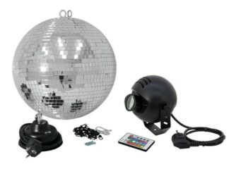 Set zrcadlová koule 30 cm s LED RGB spot IR