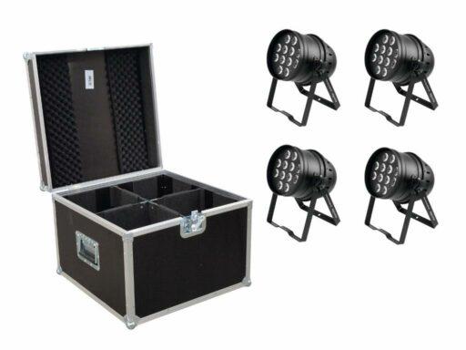 Eurolite Set 4x LED PAR-64 HCL 12x10W bk + Case PRO