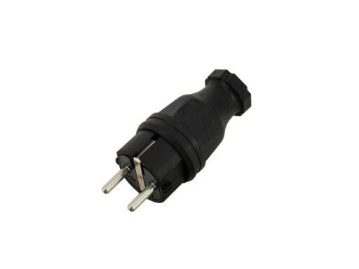 Elektrická zástrčka z černé gumy